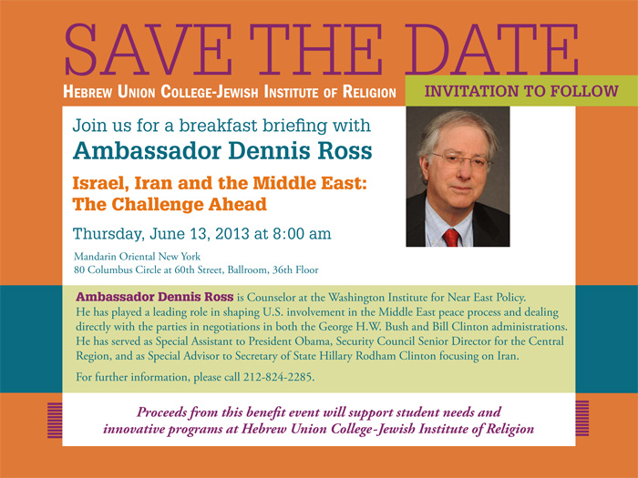 Ambassador Dennis Ross is Counselor at the duWashington Institute for Near East Policy. He has played a leading role in shaping U.S. involvement in the Middle East peace process and dealing directly with the parties in negotiations in both the George H.W. Bush and Bill Clinton administrations. He has served as Special Assistant to President Obama, Security Council Senior Director for the Central Region, and as Special Advisor to Secretary of State Hillary Rodham Clinton focusing on Iran. For further information, please call 212-824-2285