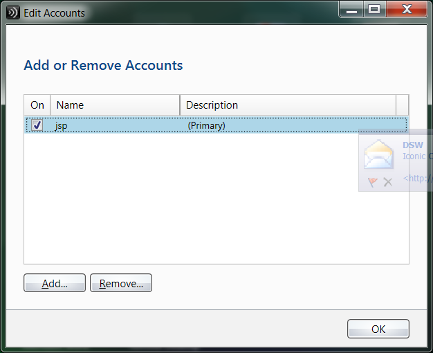 We have updated our server so you will want to remove the JSP account. Highlight it and click Remove.