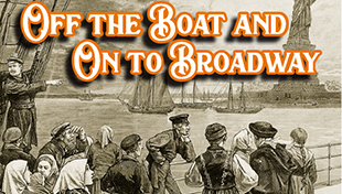 Drawing of group on boat approaching New York