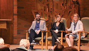Wendy Zierler, right, moderating a discussion with Asaf Beiser and Natalie Marcus, co-creators of an Israeli satire show that mines the textual and cultural history of the Jewish people for laughs.
